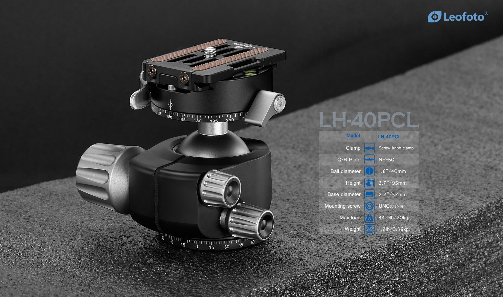 LH-40PCL+NP-60,球形雲台,低重心雙開口,PCL-60,雙全景夾座